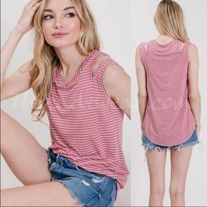 Striped Pink Jersey Sleeveless Top